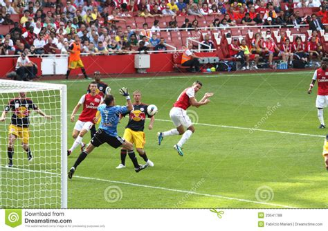 arsenal score arsenal scores in emirates cup 11 editorial stock photo