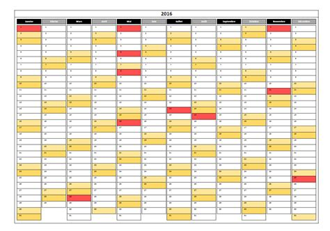 Calendrier Excel Calendrier 2016 Simple Excel Pratique