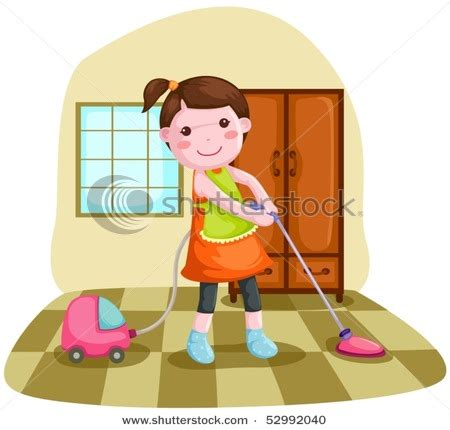 clean bedroom clipart picture of a girl using a vacuum cleaner at home in this