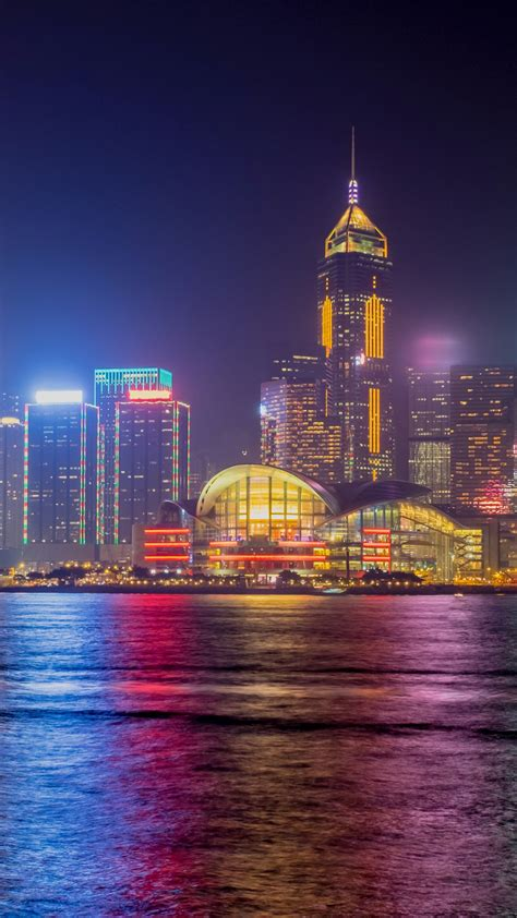 wallpaper hong kong skyline nightscape  world