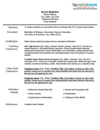 sle resume for elementary teachers without experience teaching resumes for new teachers an exle resume for a new teach it