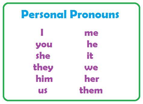 types of pronouns personal pronouns part of speech