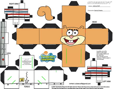 Papercraft Printable Templates - 8 best images of spongebob 3d cut out printable paper