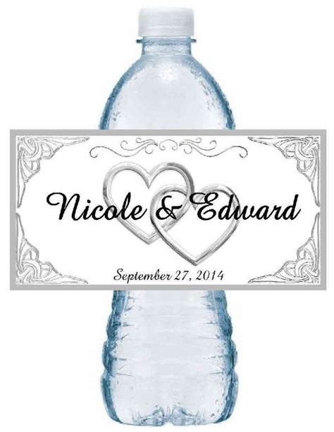 Wedding Water Bottle Labels by 50 Personalized Silver Hearts Wedding Water Bottle Labels