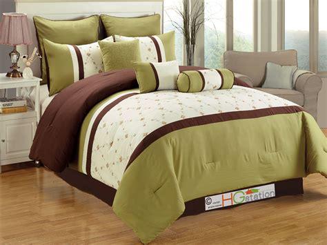 brown green comforter set 7 pc eden floral garden trellis embroidery comforter set