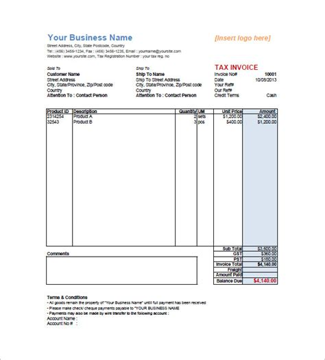 tax invoice template word doc tax invoice templates 15 free word excel pdf format