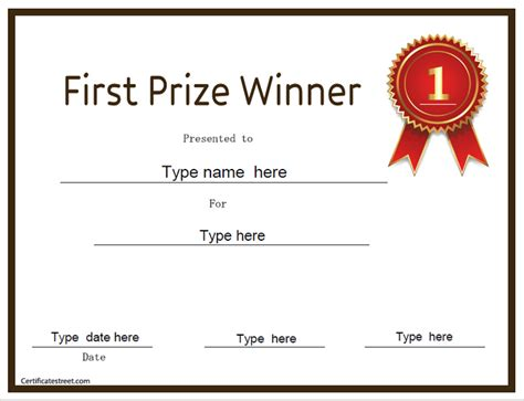 prize certificate template education certificates prize winner