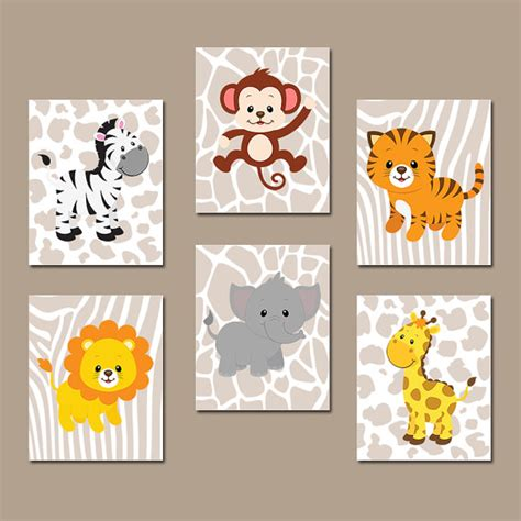 Animal Nursery Decor Jungle Animals Wall Baby Boy Nursery Pictures Canvas