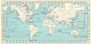 World Map 1950 by 1950s Vintage World Map World Atlas