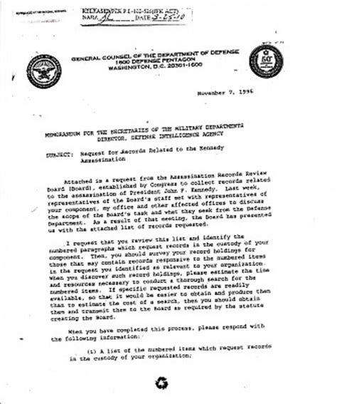 Memo Format Air Jfkcountercoup Nov 7 1995 Memo For Secretaries Of The