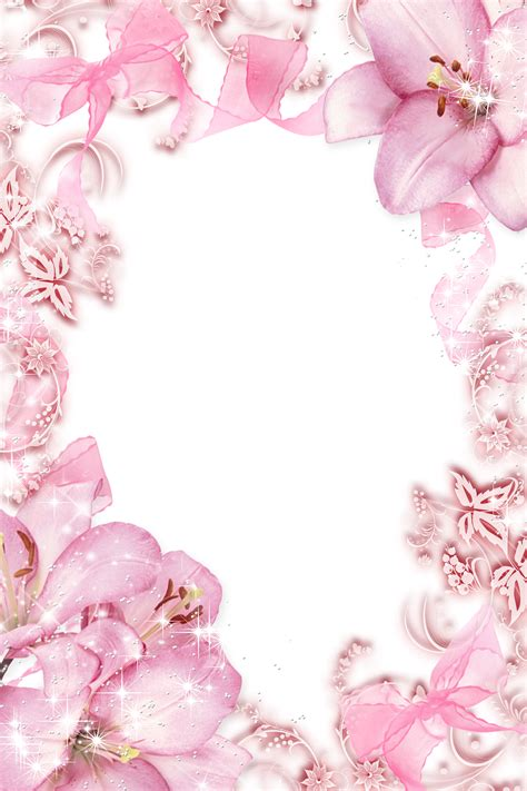 Transparant Pink Decorative transparent pink flowers png photo frame wallpapers and more flowers border