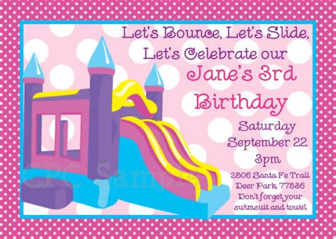 printable bounce house birthday invitations bounce castle birthday party invitation printable or printed