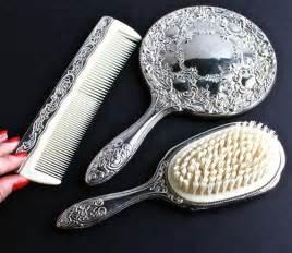 Vanity Set Comb Brush Mirror Vintage Vanity Set Silver Plated Hair From Maejean