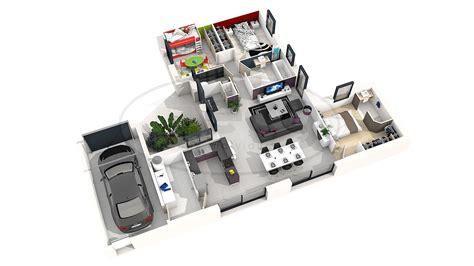 Plan Maison Simple 3 Chambres 3d by Mod 232 Le De Maison Moderne 3 Chambres En 3d