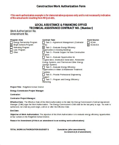 sample work authorization forms ms word