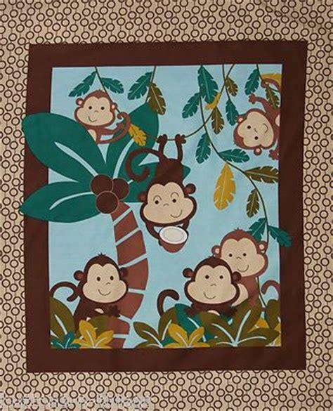 fabric monkey in coconut tree nursery panel baby quilt