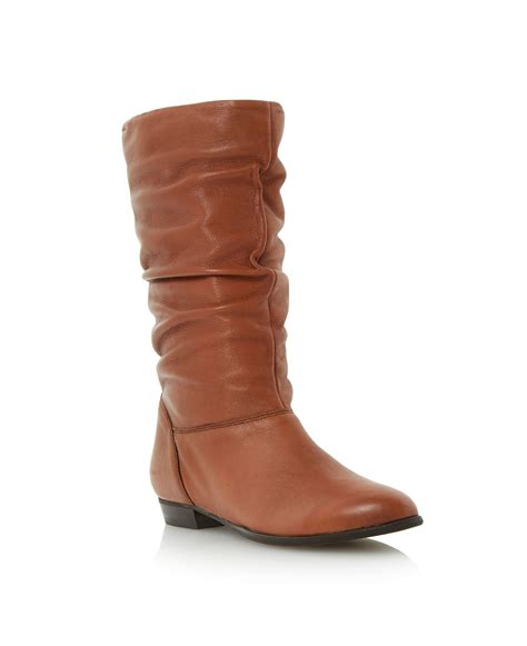 dune relissa slouch calf boots in brown lyst