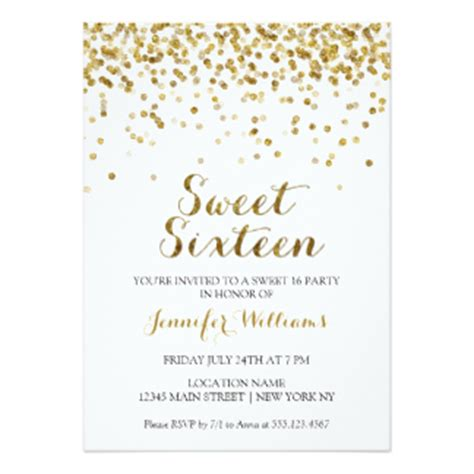 Sweety Gold M34 Free 6 sweet 16 invitations announcements zazzle