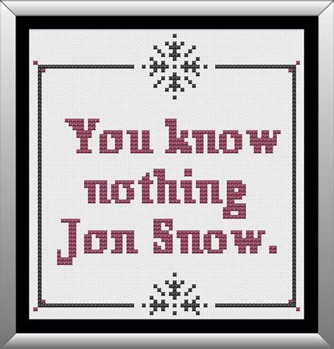 snowflake patterns game of thrones you know nothing jon snow cross stitch pattern game of