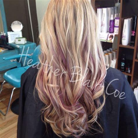 puple with blonde highlights purple peekaboos with blonde highlights hair