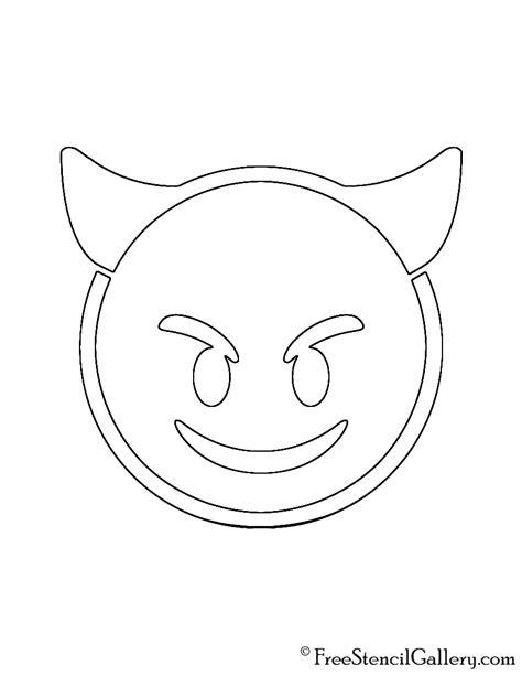 printable pumpkin stencils emoji emoji smiling devil stencil free stencil gallery