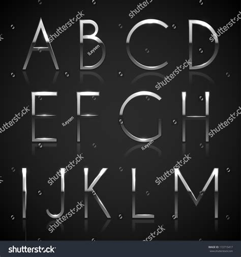 silver alphabet metallic silver alphabet letters collection eps10 stock