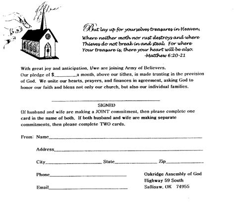 building fund pledge card template donations oak ridge assembly of god