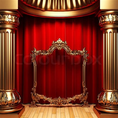 red curtains gold columns  frames    stock