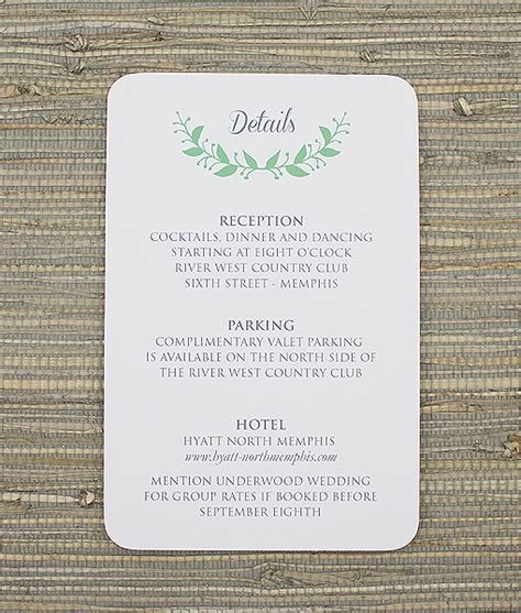 reception detail card free template wreath reception card template print