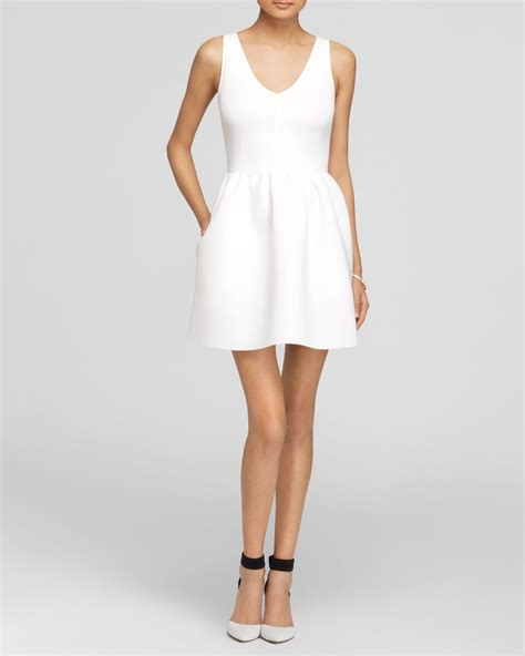 L 815 White Dress aqua dress neoprene v neck in white lyst