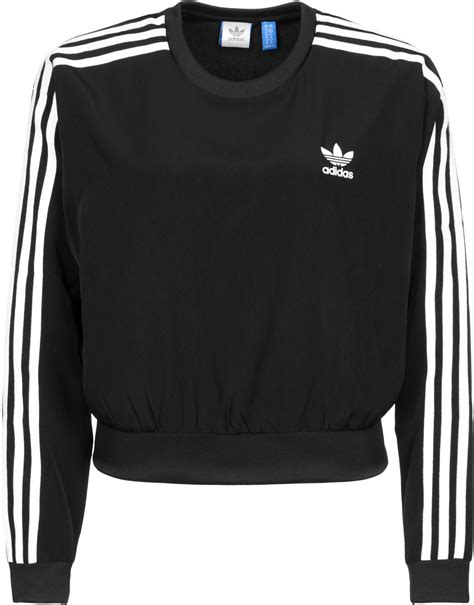 Sweater Black Addidas Basic adidas 3 stripes crop w sweater black