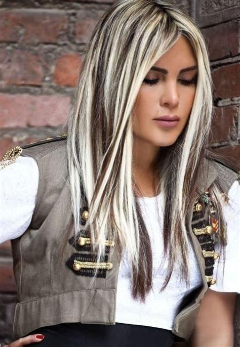 platinum hairstyles with some brown dark hair with platinum highlightsplatinum blonde hair