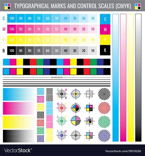 color code test calibration printing crop marks cmyk color test vector image