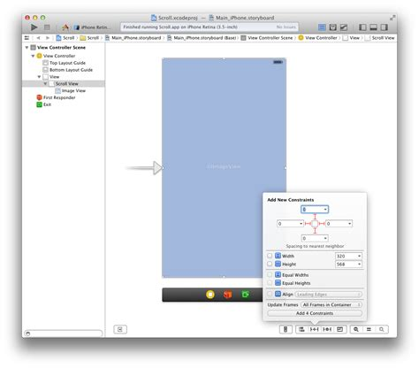 xcode uiscrollview tutorial storyboard ios added uiscrollview and uiimageview in storyboard