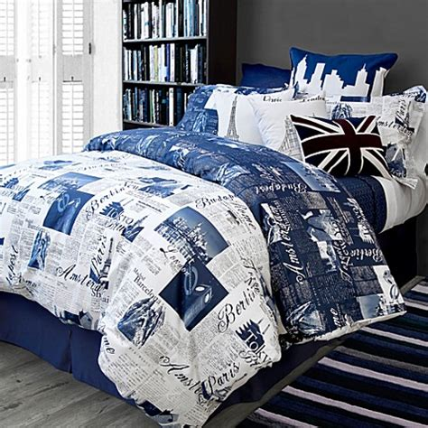 bedlam passport reversible duvet cover set in blue bed