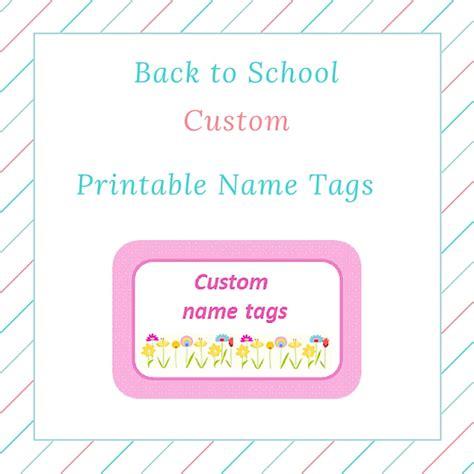 printable girly name tags back to school custom girl printable name tags keeping