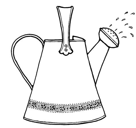 coloring page water can cartoon watering can cliparts co