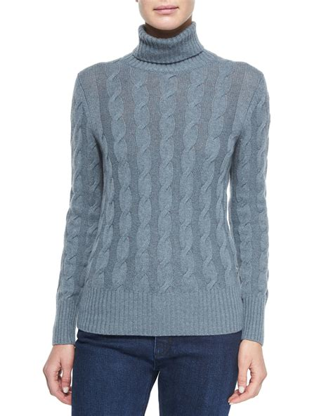 knit turtleneck sweater loro piana cable knit turtleneck sweater in blue