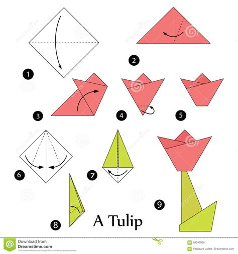 How To Make A Paper Tulip - step by step how to make origami a tulip