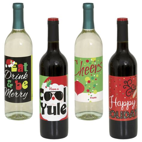 wine bottle stickers 4 christmas party happy holidays classic wine bottle