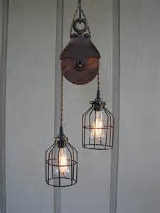 Pulley Light Fixture Upcycled Vintage Farm Pulley Lighting Pendant With Bulb Cages