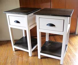 pair of diy narrow white bedside table with storage and