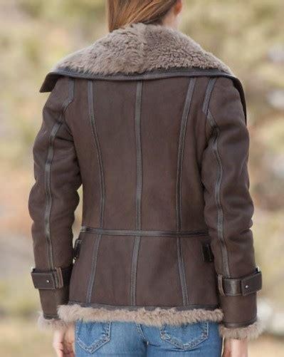 Zipper Shearling Jacket Jacinth L womens zipper sheepskin brown shearling jacket