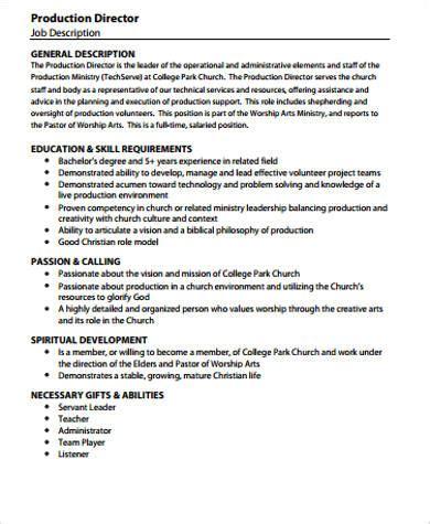 5 Production Director Job Description Sles Sle Templates Church Director Description Template