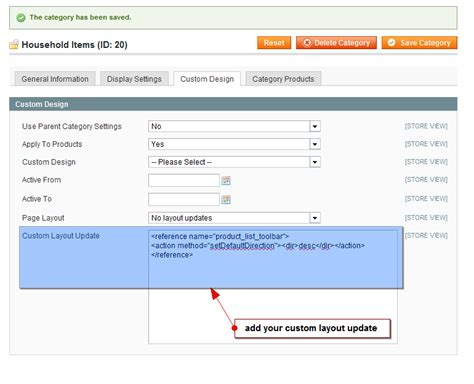 magento custom layout update for category advanced layout updates for categories and products in magento