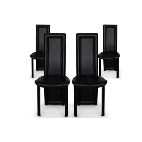 lot de 4 chaises salle a manger noires asya achat vente