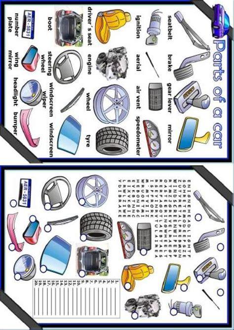 printable puzzle cars and car parts parts of a car worksheet