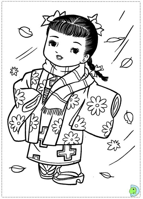 japanese doll coloring pages