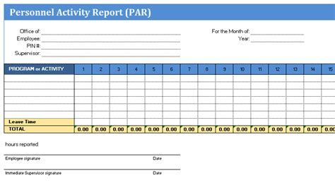 Monthly Activity Report Template Excel