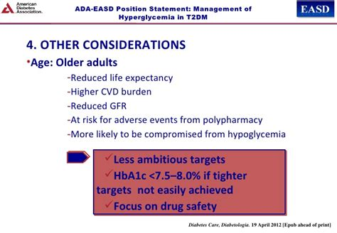 Lada Diabetes Expectancy Ada Easd Position Statement Management Of Hyperglycemia In